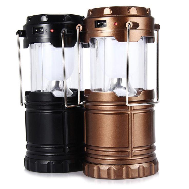 6 Plegable LLEVÓ La Lámpara de Mano Portátil de Luz Led Solar Linterna Camping Luces de la Tienda De Emergencia Recargable Para la Iluminación Exterior