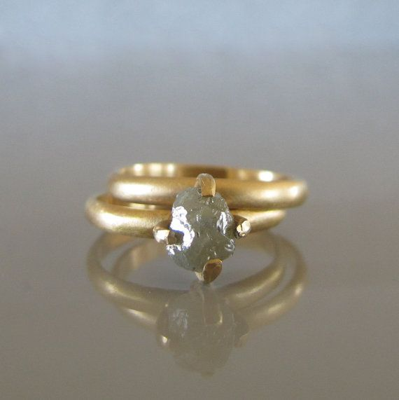 Rough diamond engagement ring set, Raw uncut diamond ring, Alternative engagement ring