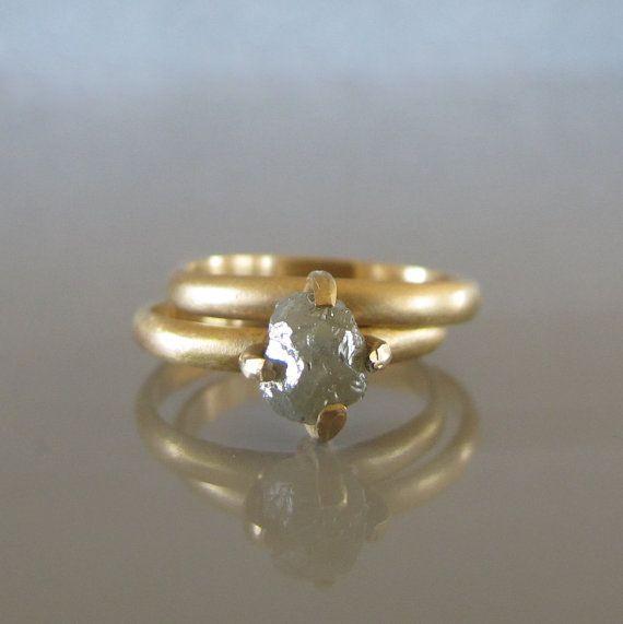 Rough diamond engagement ring set, Raw uncut diamond ring, Alternative engagement ring