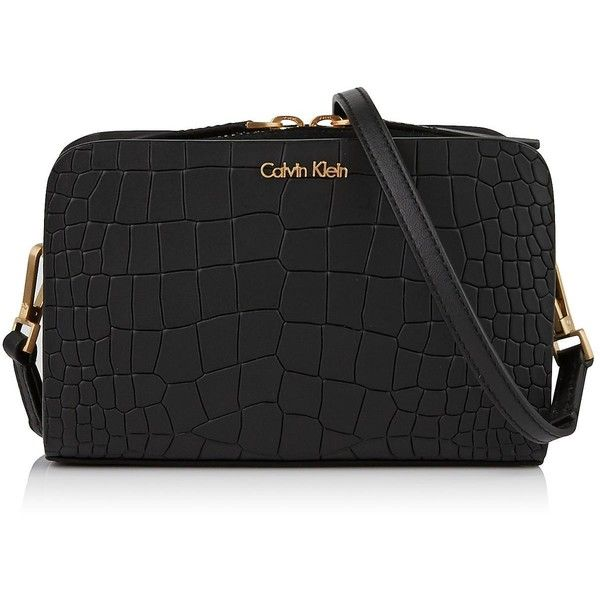 Calvin Klein Bea Leather Croc Effect Mini Cross-body Bag (153.970 CLP) ❤ liked on Polyvore featuring bags, handbags, shoulder bags, black, calvin klein handbags, leather pouch, mini crossbody, calvin klein crossbody and leather cross body purse