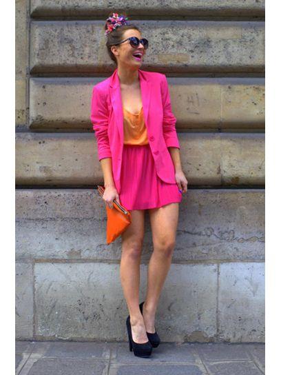 color blocking <3Haute Fashion, Pink Lady, Block Outfit, Colors Skirts, Entire Outfit, Colors Block, Pink Fashion, Block Trends, Bright Colors