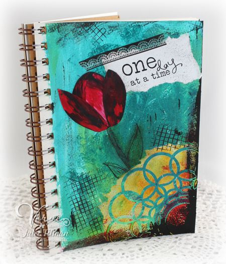 """5.5 x 8"""" mixed media art journal page using soft body acrylics, sprays, black gesso, light molding paste, Verve stamps and fingerpainting techniques."""