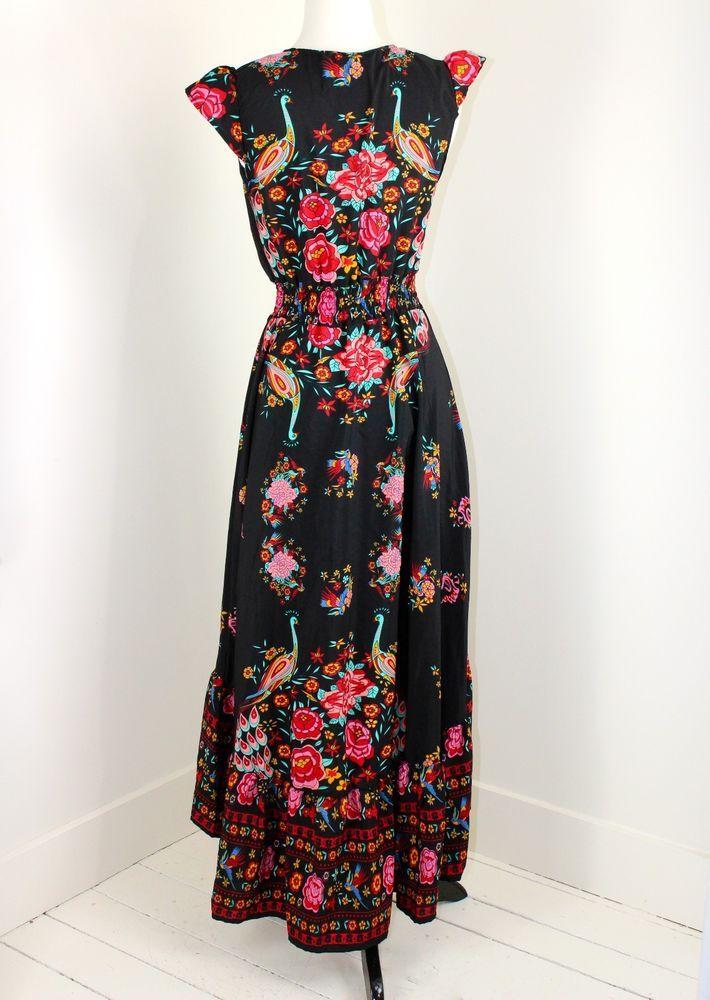 eab4ee915d7 Festival Dress S High Low Hem Peacocks Roses Pink on Black Flowing Boho  Gypsy