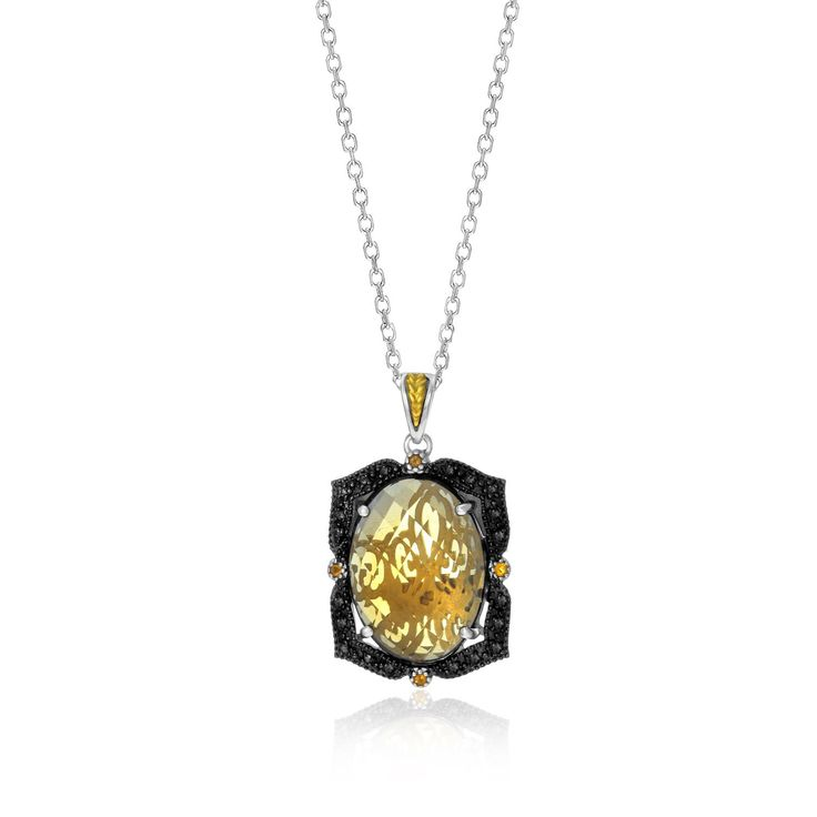 18K Yellow Gold & Sterling Silver Oval Pendant with Citrine Quartz & Diamonds