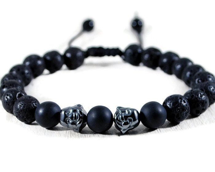 Buddha Men's Black Lava Adjustable Macrame Bracelet.