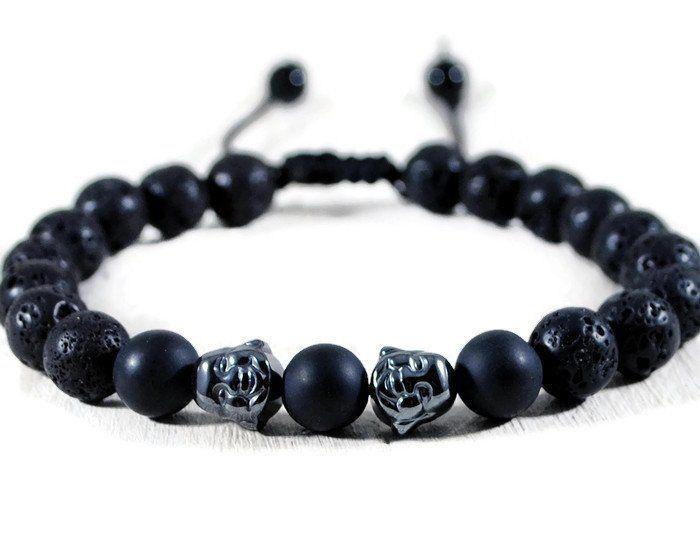 Buddha Men's Black Lava Adjustable Macrame Bracelet.