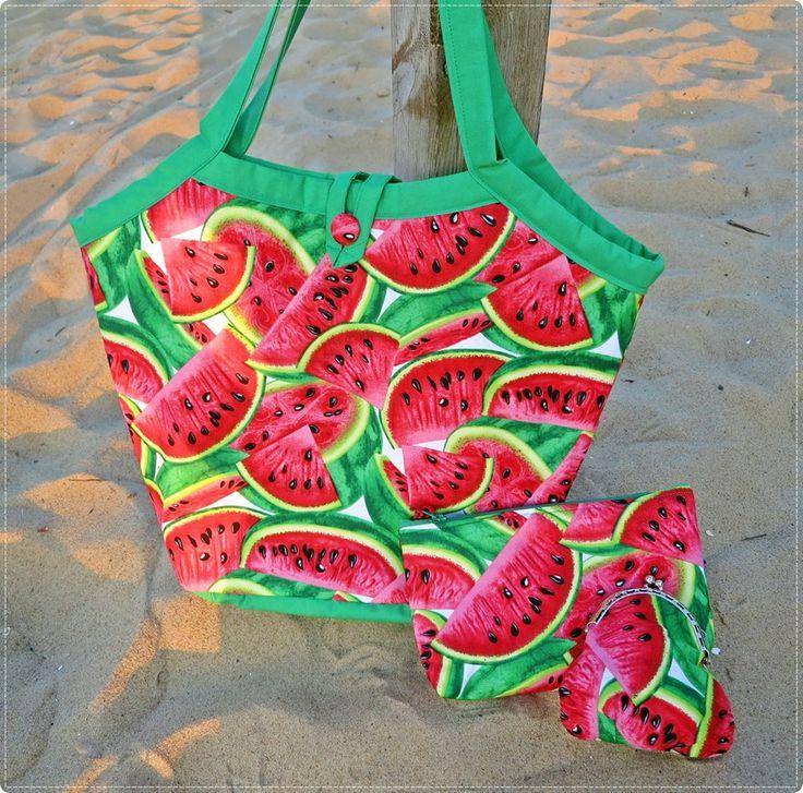 Arbuzowy komplet! Torba, kosmetyczka i portmonetka :) Handmade bag, beautician and purse with watermelons print :)