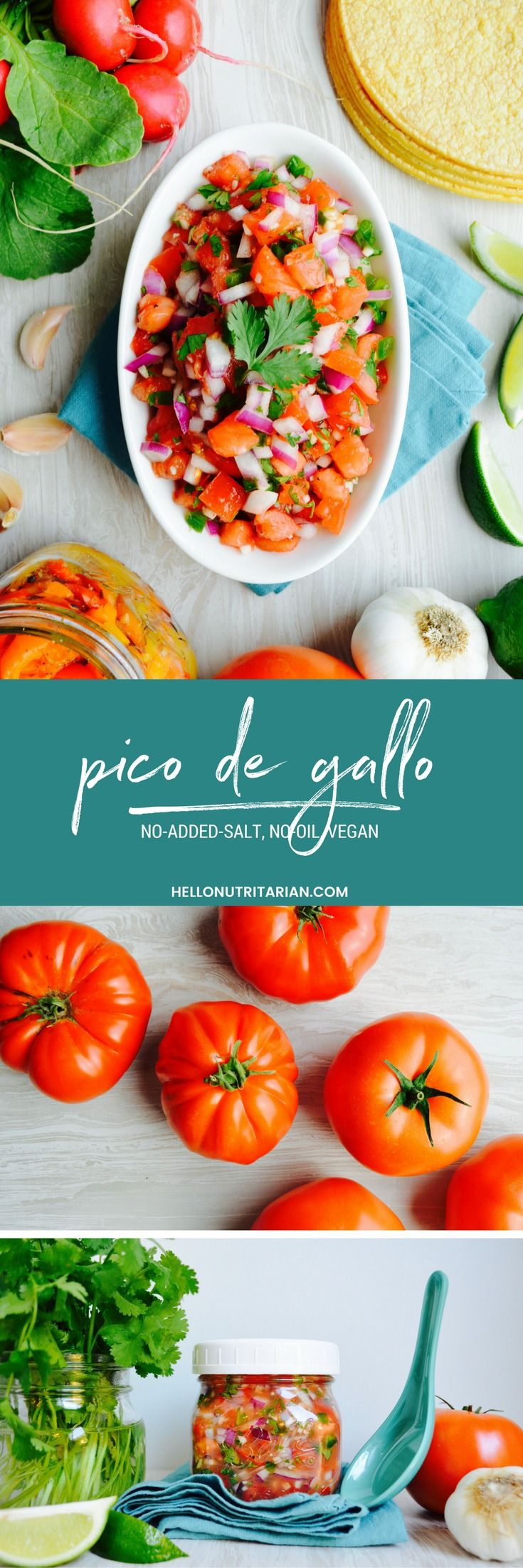 "Pico De Gallo Recipe No Added Salt, No Oil, Vegan, Nutritarian Recipe - Nothing says ""summer"" like homemade pico de gallo!  This recipe has tons of super-fresh flavor without the oil or salt!  Click through to find out which type of tomatoes are best for your pico..."