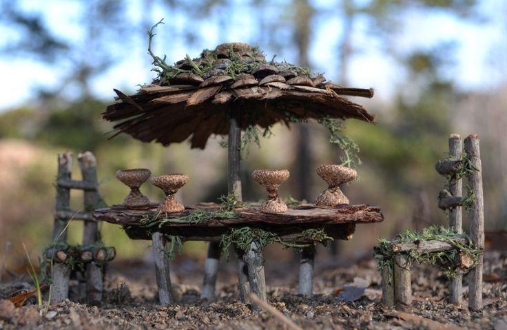 Fairy House Furniture Patio Table by SnarlingBunny on Etsy
