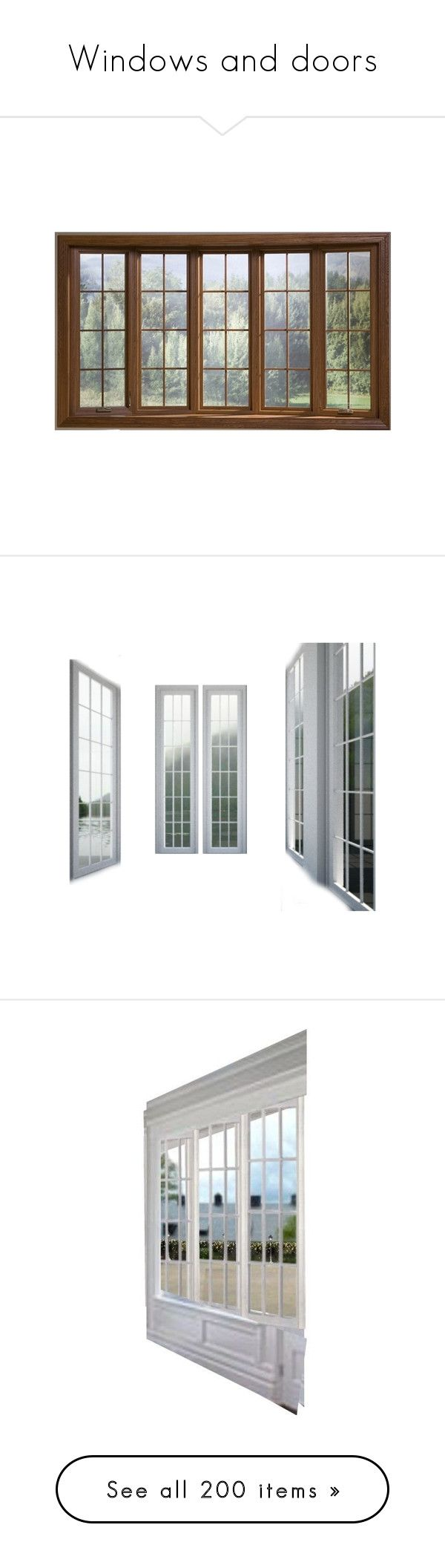 """""""Windows and doors"""" by colonae ❤ liked on Polyvore featuring home, home decor, window treatments, curtains, windows, outdoor home decor, outdoor window coverings, outside curtains, bow window curtains and outdoor window curtains"""