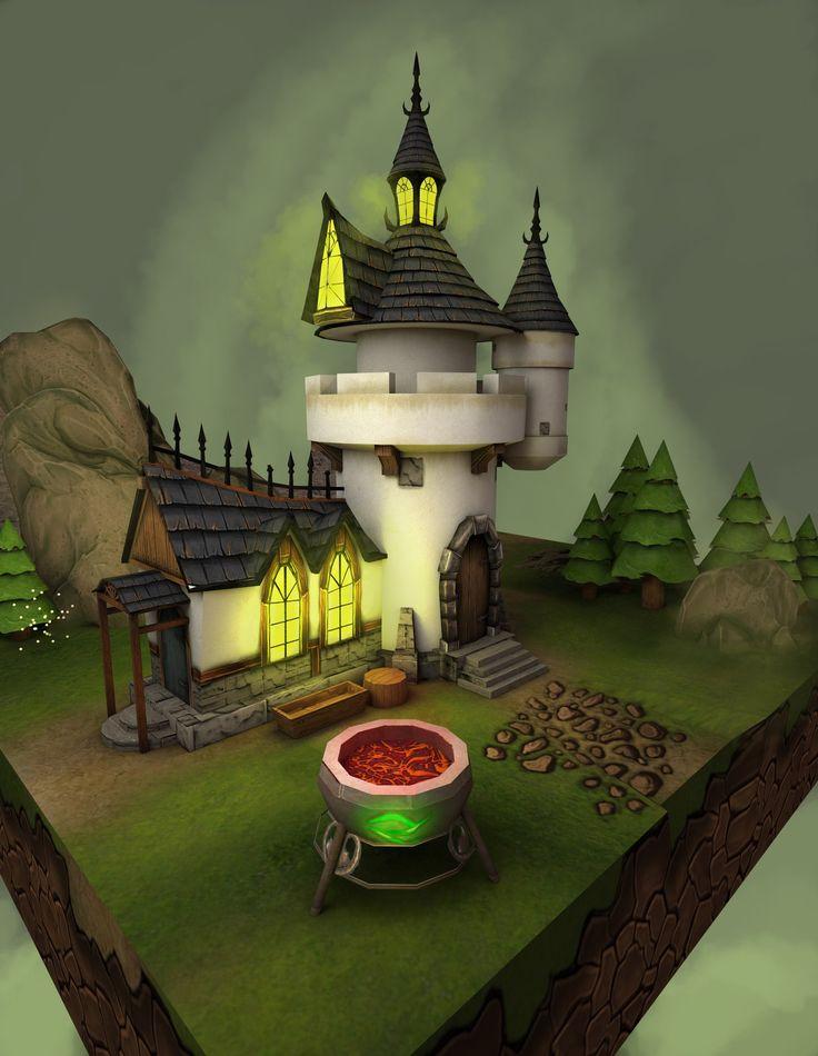 Castle, 3d max, zbrush.