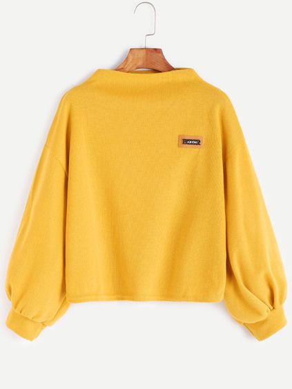 """""""Yellow Funnel Neck Drop Shoulder Lantern Sleeve Patch Sweatshirt"""" [Source: Romwe] -- #shirts  #clothes #clothing"""