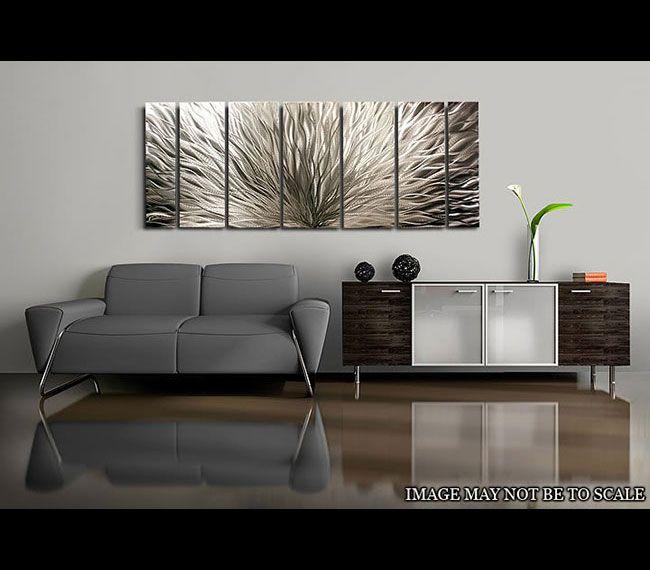 Silver plumage metal wall art by jon allen