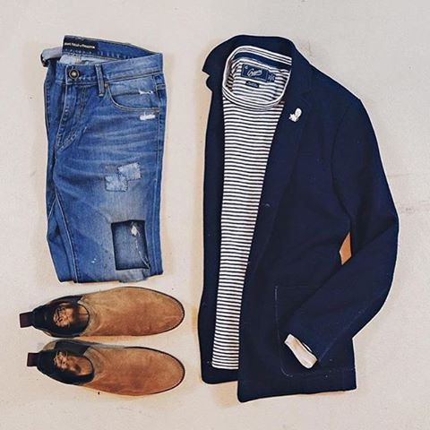 Outfit grid - Blue jacket & jeans