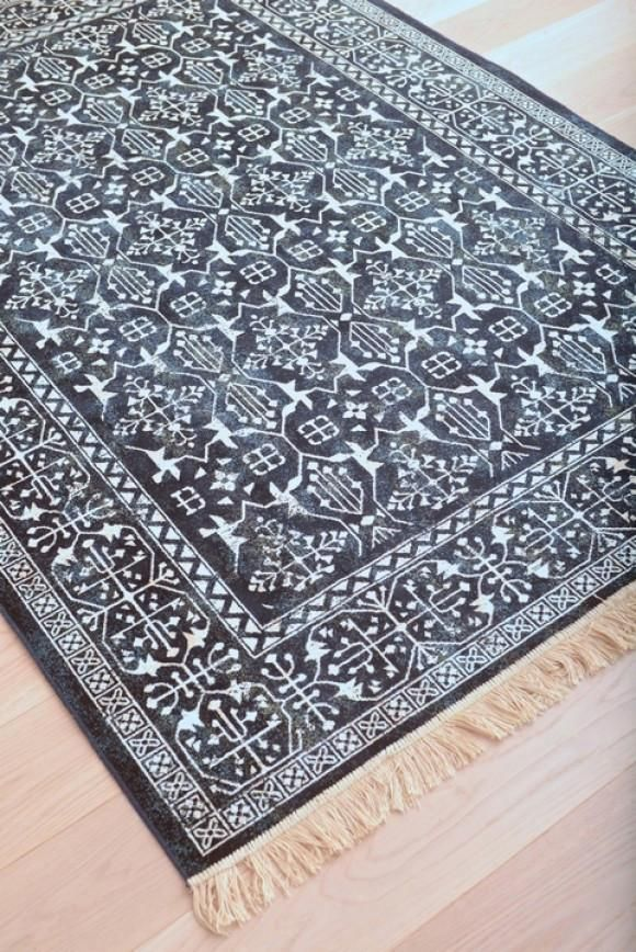Modern Navy Blue And White Persian Style Fringe Rug In 2019 Rugs
