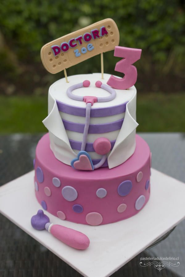 This was a chocolate cake for doc mcstuffins tv series.