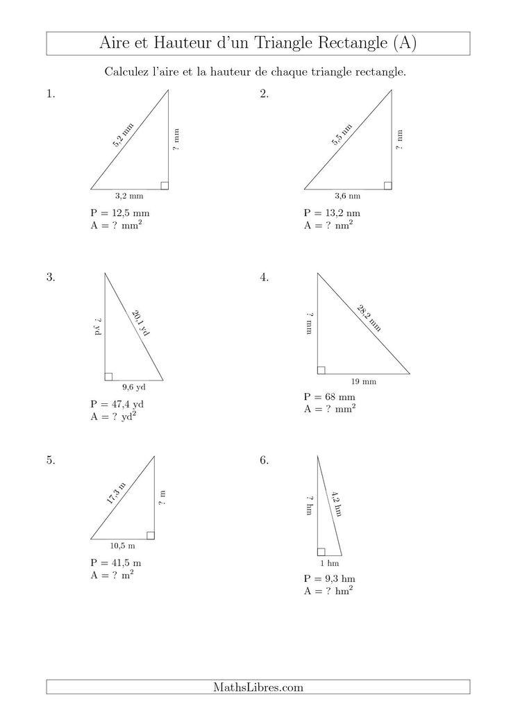 La fiche d'exercices de maths « Calcul de l'Aire et Hauteur d'un Triangle Rectangle (A) » de la page des Fiches d'Exercices sur les Mesures.
