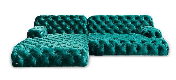 COCOA ISLAND Chesterfield Lounge (L-shaped sofa) by BRETZ. Blue velvet.