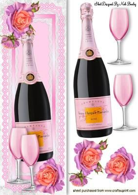 BOTTLE OF PINK CHAMPAGNE IN LACE TALL DL WITH ROSES on Craftsuprint - Add To Basket!