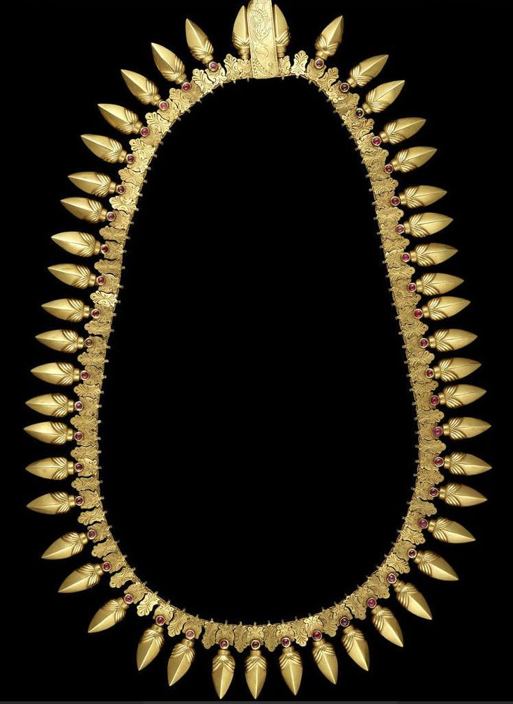 India   Gold and ruby set necklace; the ruby-set gold elements imitate the forms of seeds, berries and flower buds which are the oldest shapes in Indian jewelery and considered highly auspicious.   Tamil Nadu   19th century   8,125£ ~ sold  