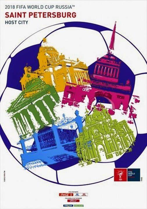 San Petersburgo. Póster Copa Mundial de Fútbol FIFA Rusia 2018. Diseño Carteles.