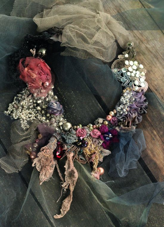 Old palace necklace delicate  shabby chic by FleursBoheme on Etsy
