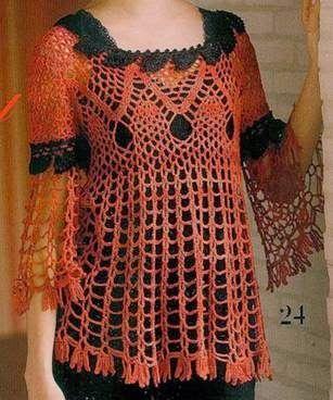 Crochet tesoro: tunica con maniche tromba