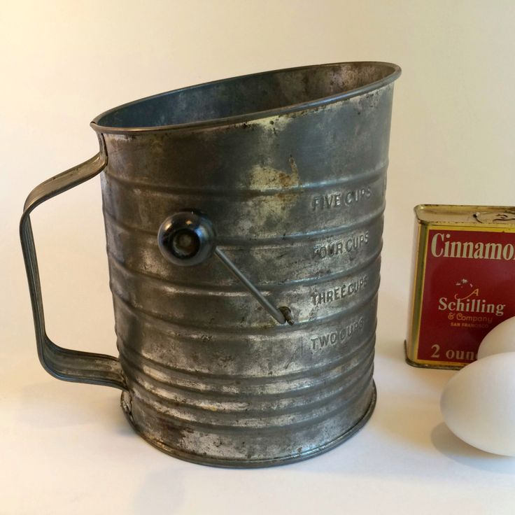 Vintage Bromwell's 5-Cup Flour Sifter Antique Collectible Rustic Farmhouse Decor by PrairiePineVintage on Etsy https://www.etsy.com/listing/490344884/vintage-bromwells-5-cup-flour-sifter