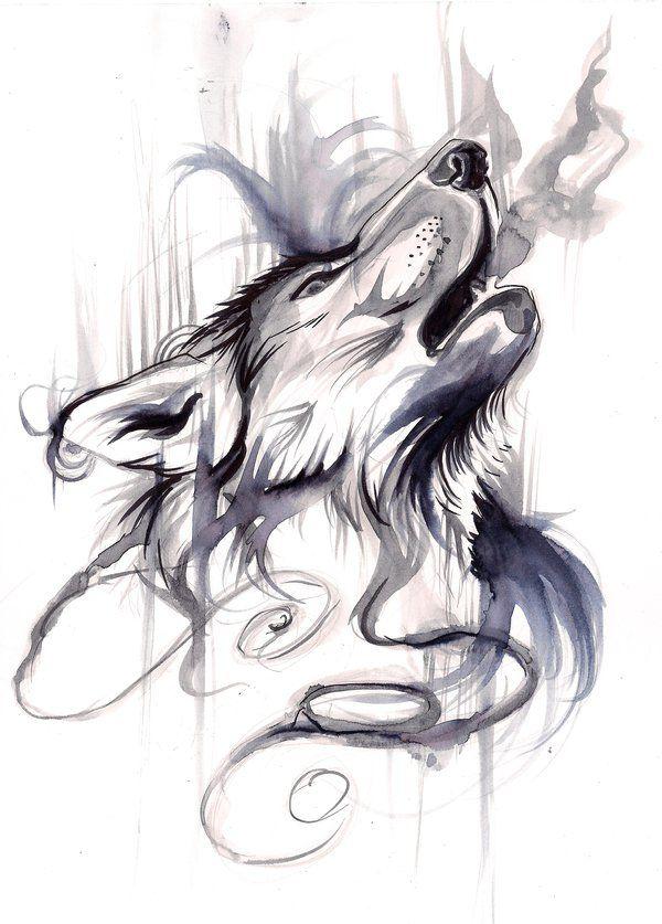 Howling Wolf black&white aquarelle tattoo