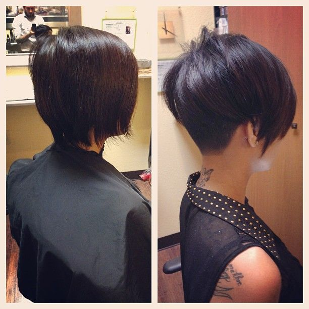 before and after bob with tapered nape - Inverted Bob