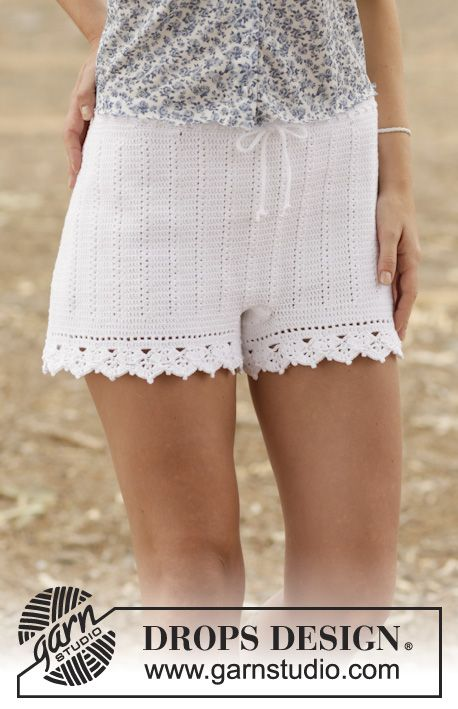 "Crochet DROPS shorts with double crochet and lace pattern in ""Safran"". Size: S - XXL. Free pattern by DROPS Design."