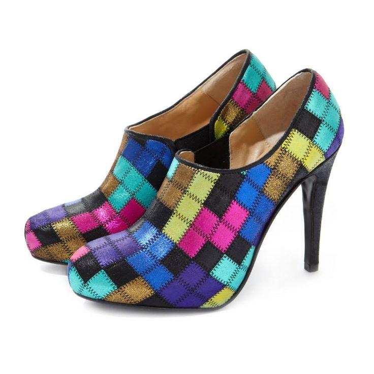 CLEO B 'Starscream' Tetris-inspired patchwork shoe boot #pixel #collection #tetris #inspired #shoe #boot #heels #cool #colour #pink #blue #purple #gold #fashion #designer #london #style