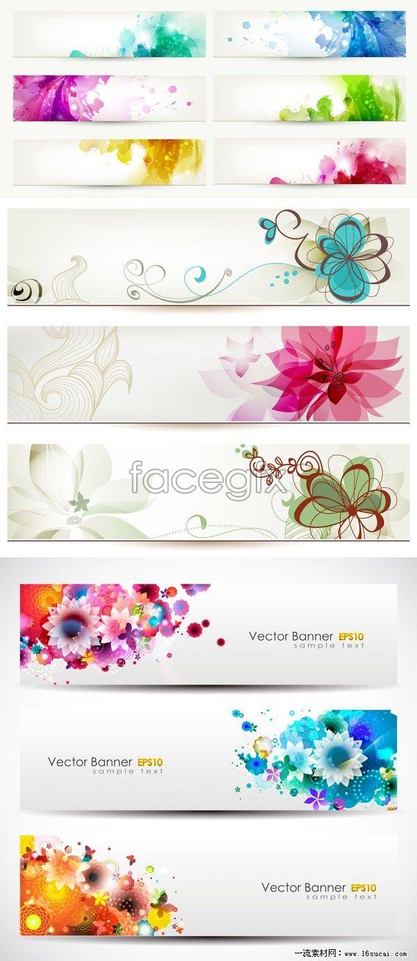 Design banner free download - Magic Flower Banner Vector Design