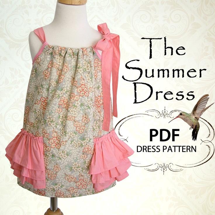 Sewing pattern, girls sewing pattern PDF, childrens sewing pattern, girls dress, baby sewing pattern, Easy beginner, The Summer Dress. $7.50, via Etsy.