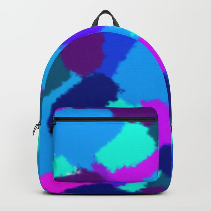 Backpack Cold colours fantasy Abstract design with bright brush strokes. Cold colours. digital, sponge, brush, pattern, pop-art, artwork, multicoloured, colourful, bright, cold, colours, cool, blue, pink, purple, cyan, strokes, abstract, society6, gifts, shopping, buy, sell, unique #artwork #abstract #bright #coldcolours #society6 #backpacks