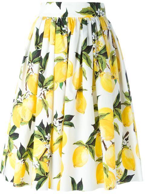 DOLCE & GABBANA Lemon Print Skirt. #dolcegabbana #cloth #skirt