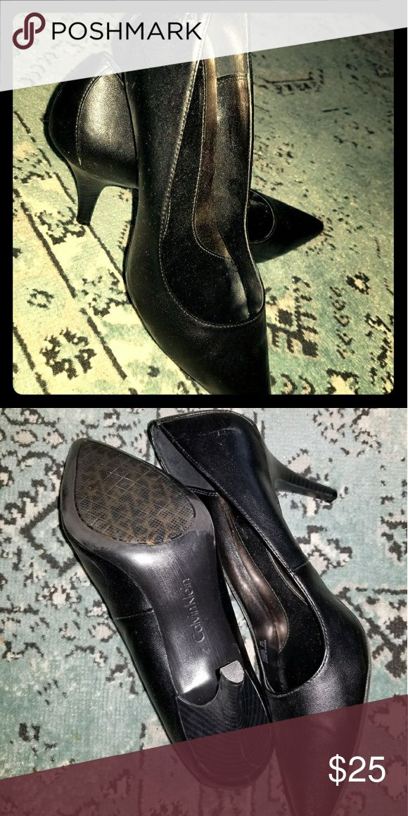 LIKE NEW Calvin Klein black leather pumps Pointy toes, worn maybe twice. Calvin Klein Shoes Heels