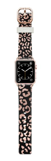 Casetify Apple Watch Band (38mm) Casetify Band - Modern rose gold leopard hand drawn print pattern on black by Girly Trend by Girly Trend #Casetify