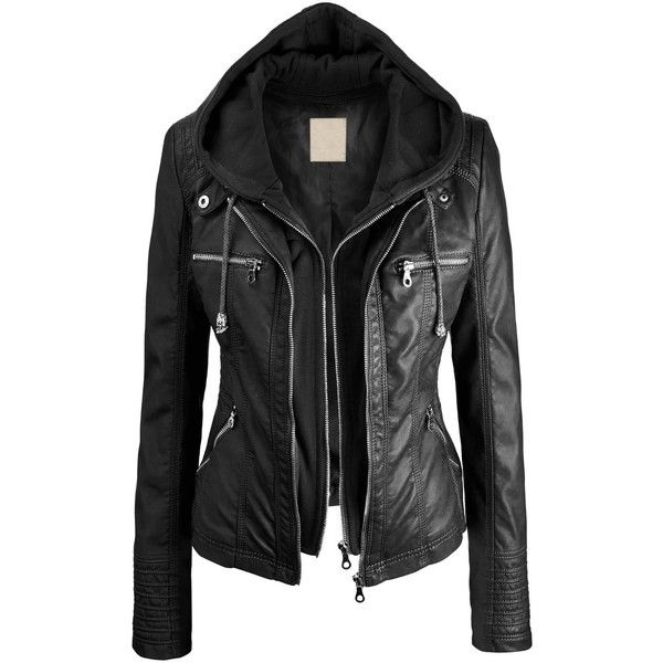 LL Womens Hooded Faux leather Jacket (£6.46) ❤ liked on Polyvore