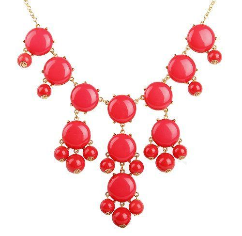Bubble Bib Necklace, Coral Red Bubble Necklace, Bubble Jewelry, Gold Tone,Coral Red Necklace (Fn0508-Coral Red) EnyaJewelry. $14.99. It usually takes 6-14 days to arrive you in normal.. Model number :Fn0508-Coral Red. Material Type: Resin. Necklace Length:74cm(29 Inches). Necklace Weight: 150g. Photography of real item from EnyaJewelry.What you see is what you get. Save 85% Off!