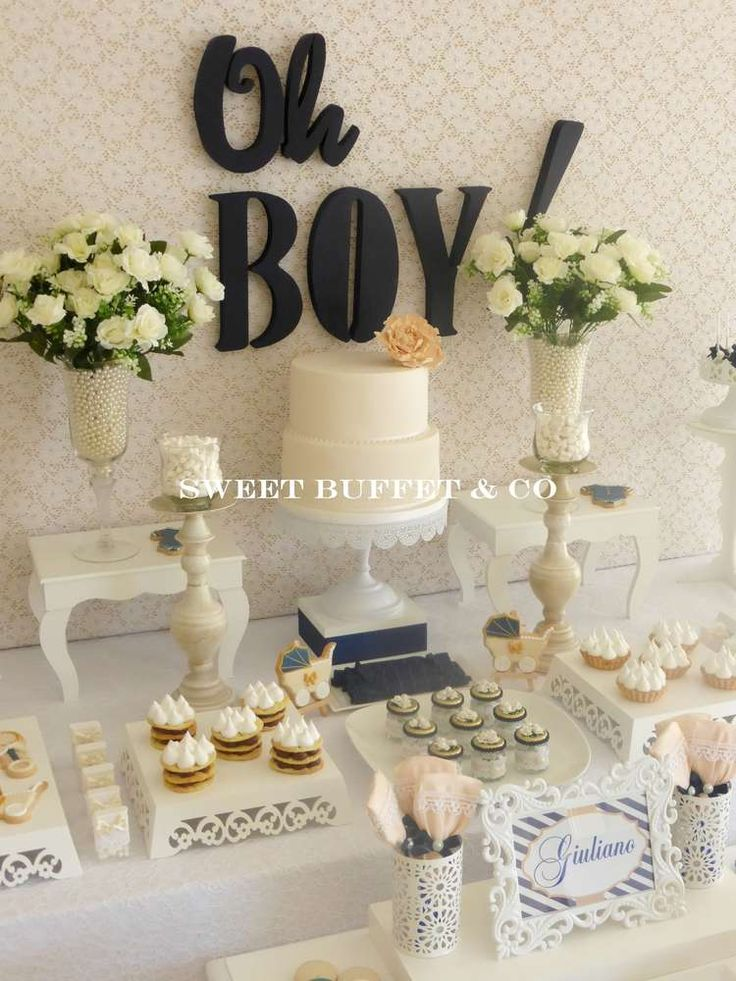 Stunning baby boy baby shower party! See more party planning ideas at CatchMyParty.com!