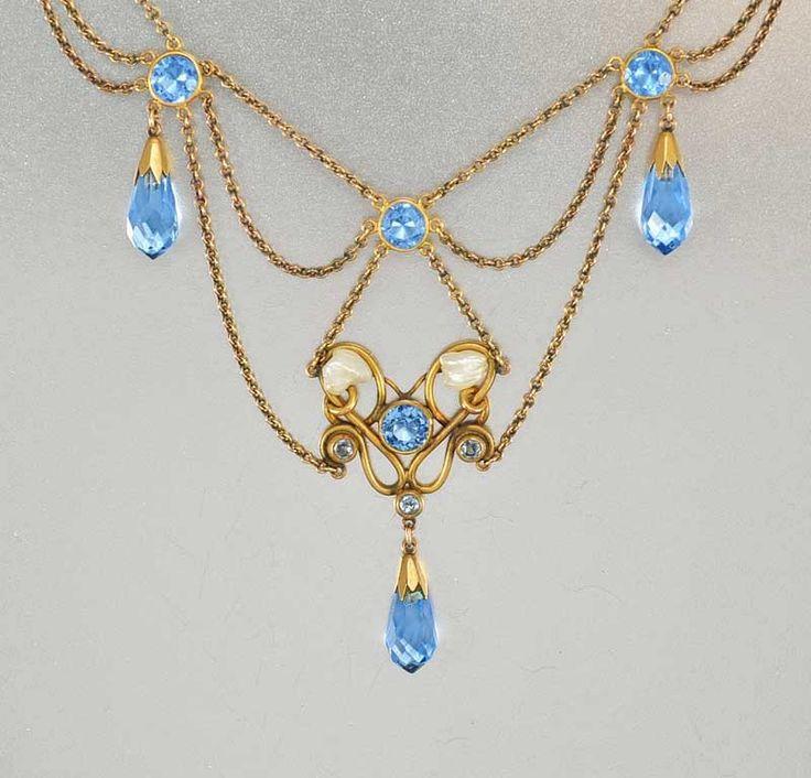 Stampe antiche Sapphire Edwardian collana di cristallo di boylerpf