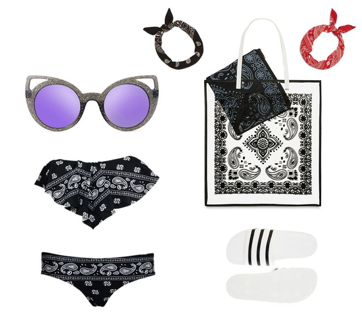 "The perfect ""bandana"" idea outfit! If you are a fan of bandana print outfits or accessories, here are some of our favourite products we suggest for you. A big bandana print bag, two hair bandana accessories, awesome cat eye sunglasses, bandana print swimsuit and classic strippy slid ons!  Slid ons: www.adidas.com Bag: www.primark.com Swimsuit: www.attitudeclothing.co.uk Bandana hair pieces: www.primark.com Sunglasses: www.italiaindependent.com"