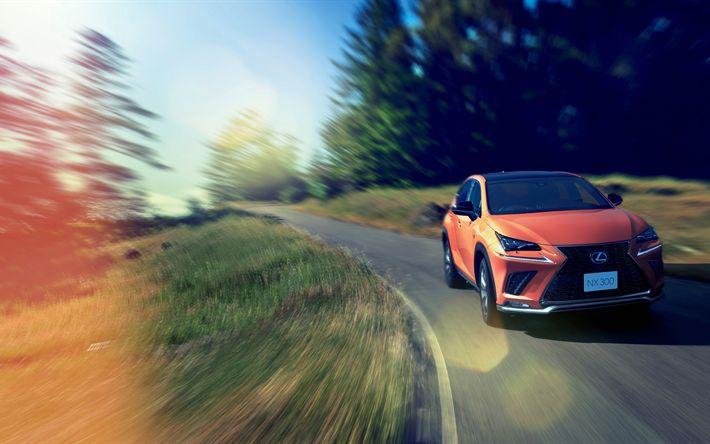 Download wallpapers 4k, Lexus NX 300 F Sport, 2018 cars, crossovers, road, orange NX, Lexus