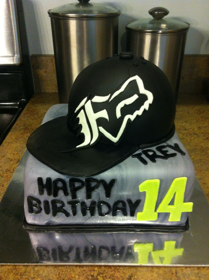 Boys Fox racing hat cake. perfect for my man only the hat will look just like his