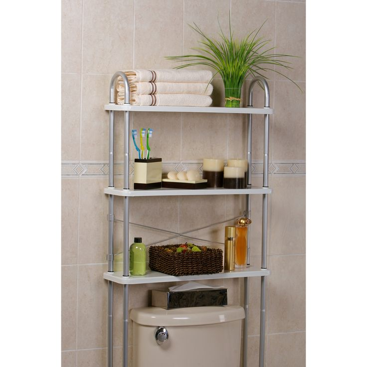 Features:  -3 Solid metal shelves to organize all your bathroom needs.  -Weight capacity per shelf: 33 lbs(15 kg).  Product Type: -Over-the-Toilet.  Style: -Contemporary.  Finish: -White and silver.
