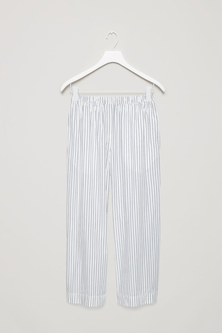 COS image 2 of Striped pyjama trousers in White