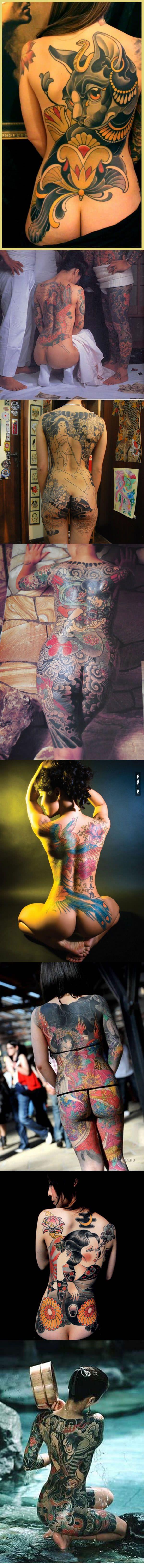 Beautiful Japanese women with Irezumi (Traditional Japanese tattooing)