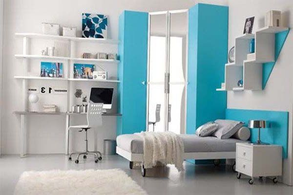 Girl Bedroom. Mesmerizing Endearing Girls Rooms Delightful Bedroom Design Ideas For Teenage Girl : Awesome Modern Teenage Bedroom Design Ideas For Teenage Girls With White Fur Rug And Featuring Workspace Also Freezing Blue Nuance ~ wegli