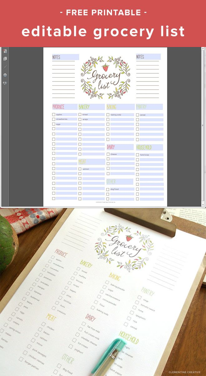 Download an editable grocery list, fill in your own text, and print!